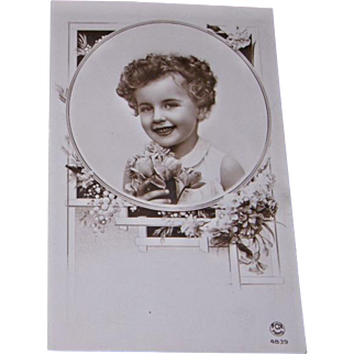 Glossy Sepia Tone Real Photo Postcard Curly Headed Little Girl FOX Paris