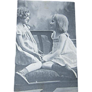 1913 Shoe Store Advertising Invitational Photo Postcard Two Young Girls