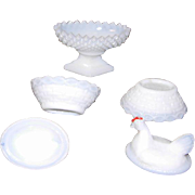 Milk Glass Salt Cellars Trio 2 Miniature Hens on Nest and 1 Open Pedestal Salt