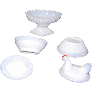 Milk Glass Salt Cellars Trio 2 Miniature Hens on Nest and 1 Open Pedestal Salt