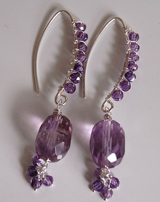 Shaded Amethyst and natural purple zircon earrings