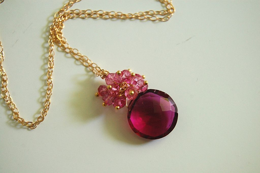 Gorgeous Pomegranate Pink quartz and Mystic Rubelite necklace