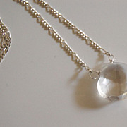 Crystal Quartz heart briolette necklace with sterling silver