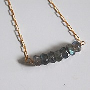 Gorgeous Blue Flashy Labradorite Necklace with gold filled Chain