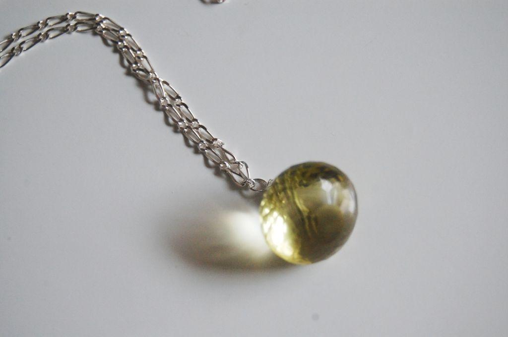 Gorgeous Lemon quartz pendant necklace with Sterling silver chain