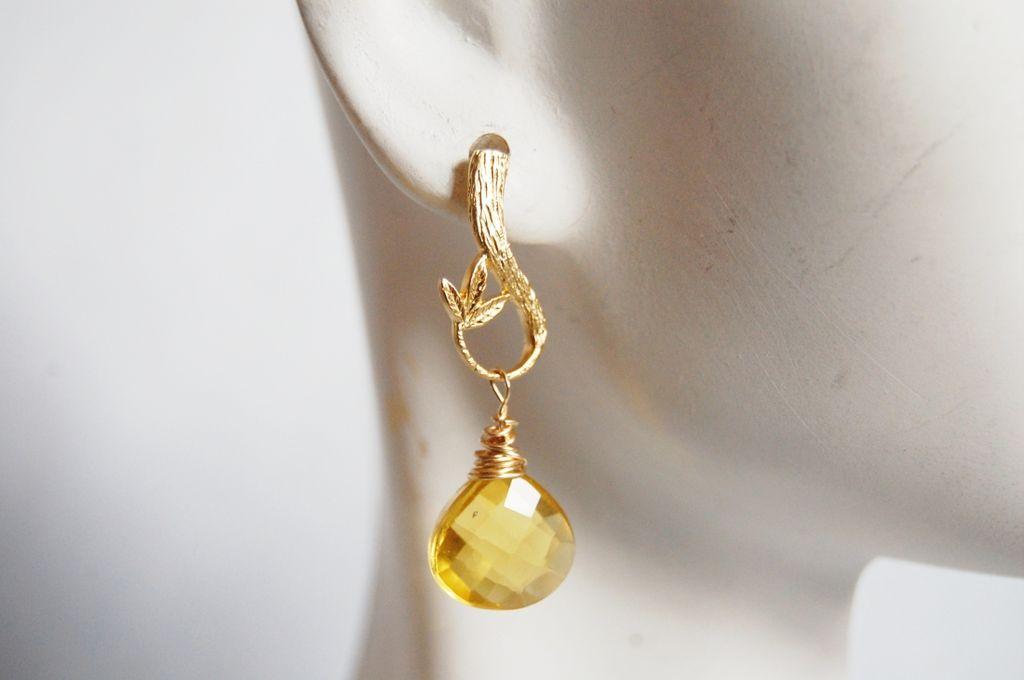 Gorgeous Lemon quartz heart briolette earrings
