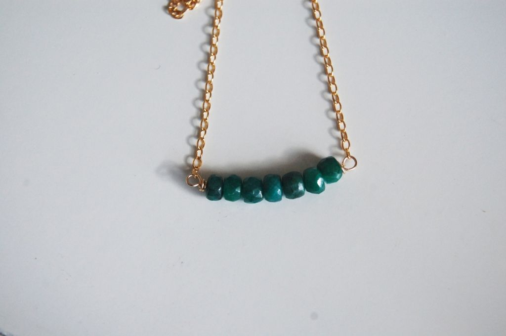 Genuine green  Emerald nacklace with Gold filled Chain