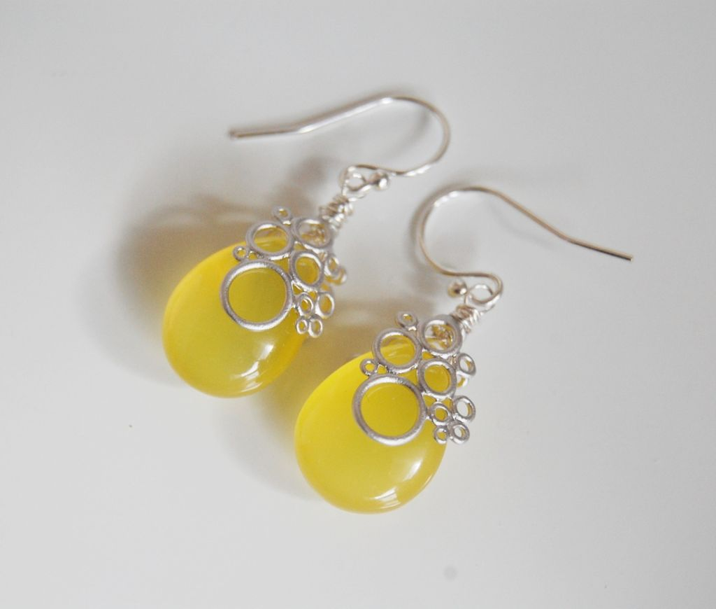 Gorgeous Yellow Chalcedony dangle Earrings