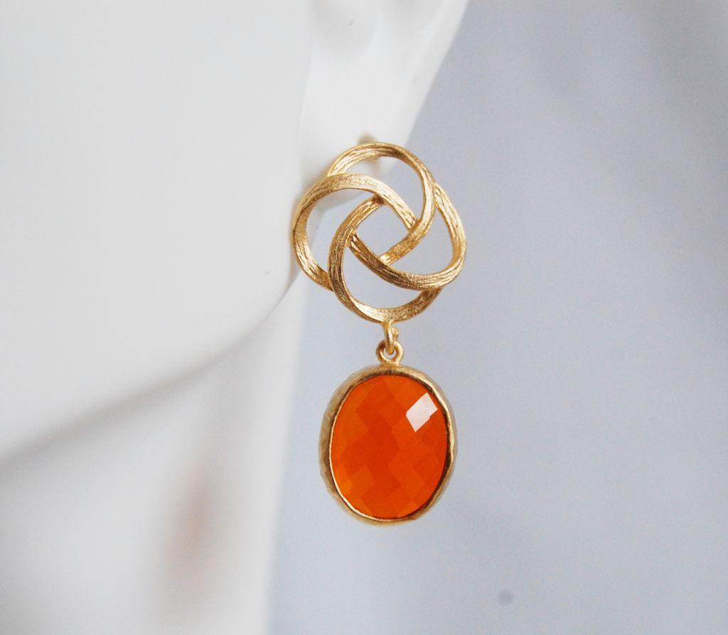 Bezel setting Glass oval Fire opal dangle earrings from ...