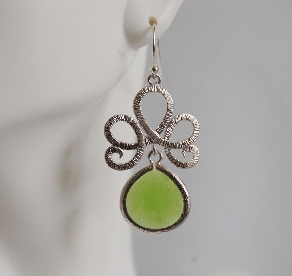 Bezel setting Glass apple Green dangle earrings-- Bridesmaids gift