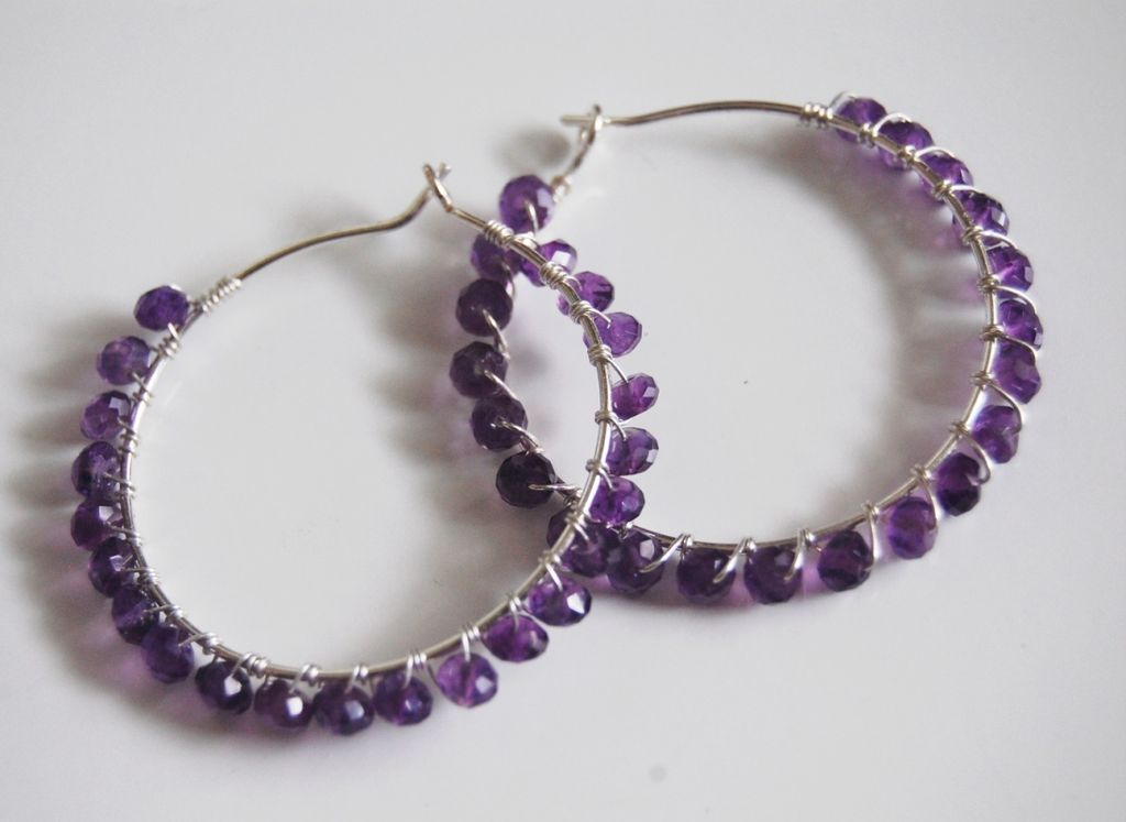 Sterling silver hoop earrings with Amethyst