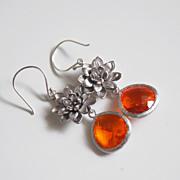 Bezel setting Glass Fireopal fancy drop dangle earrings