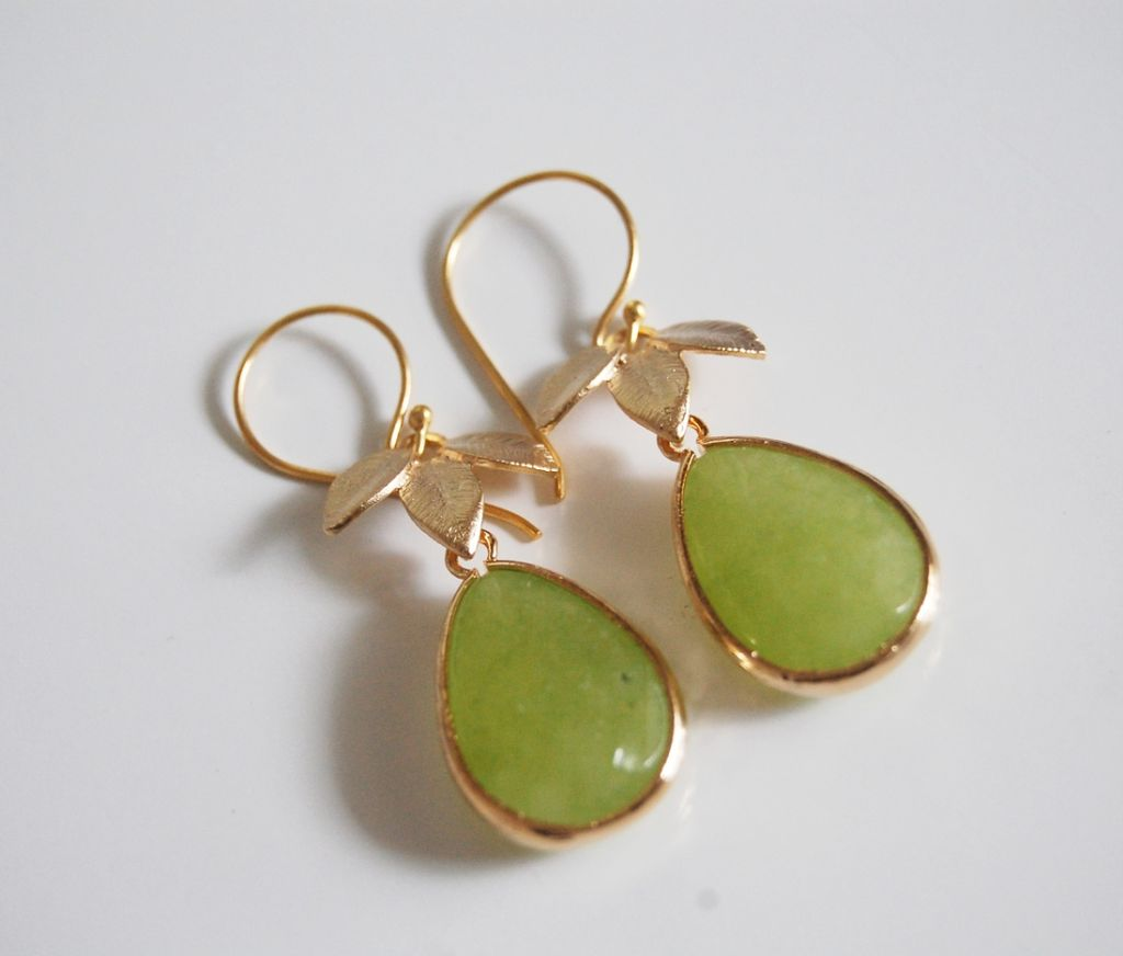 Olive Green gold framed glass stone dangle Earrings