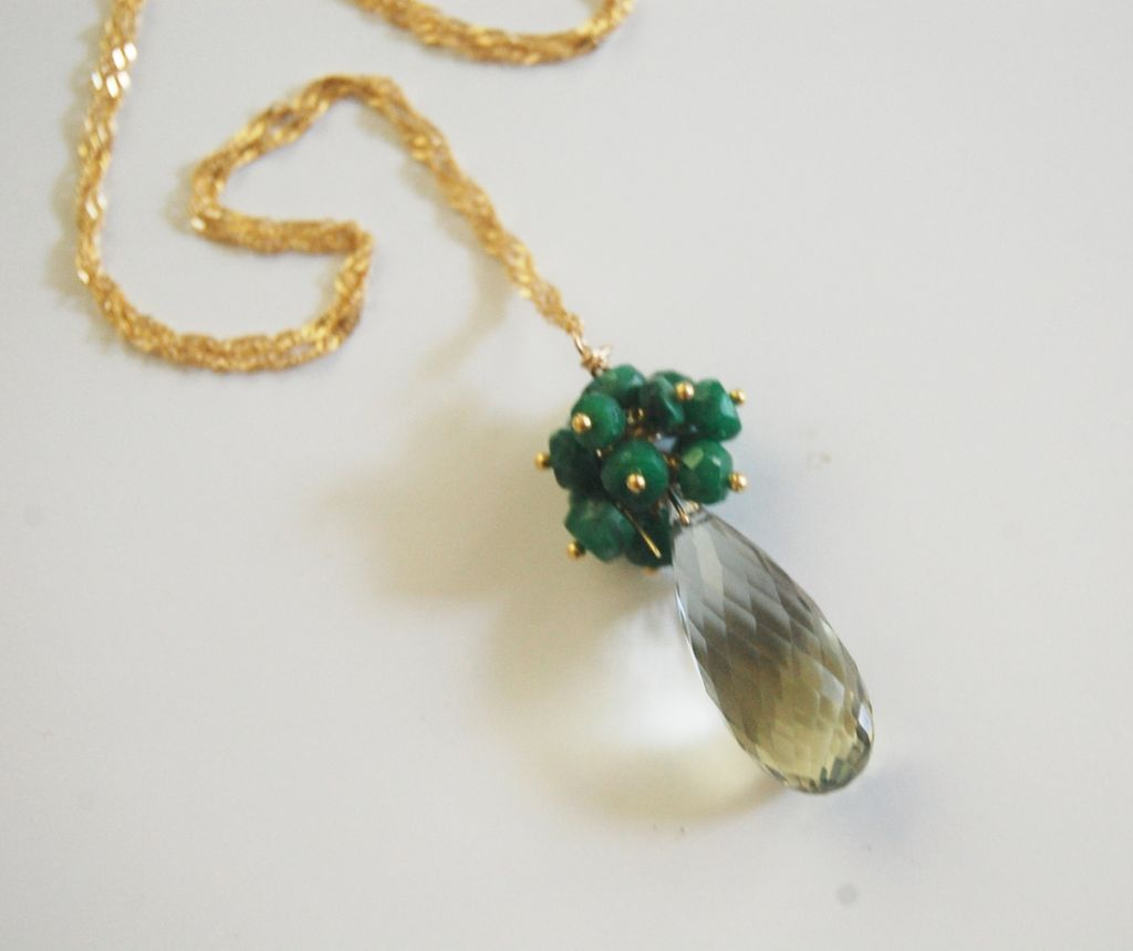 Gorgeous Green Amethyst and Genuine Emerald Pendant Necklace