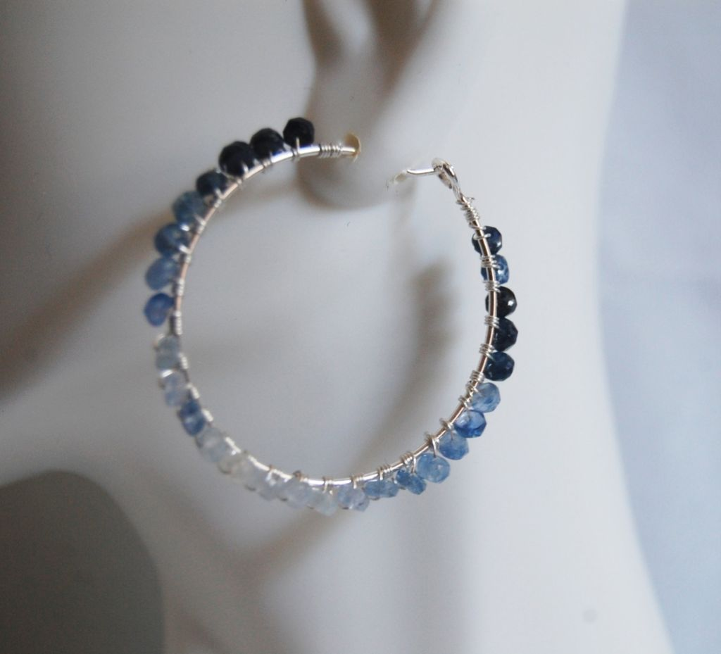 Genuine Shaded sapphire and Sterling silver Hoop Earrings