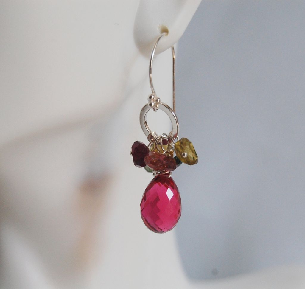 Gemstone earrings-Gorgeous Multi tourmaline - Hot Pink Quartz - Sterling Silver Earrings