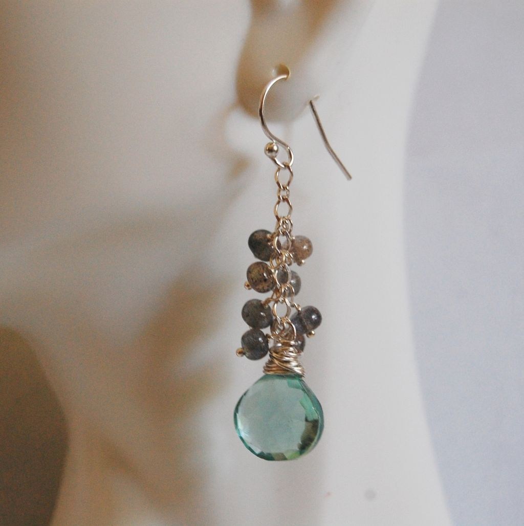 gemstone earrings gorgeous green quartz and blue