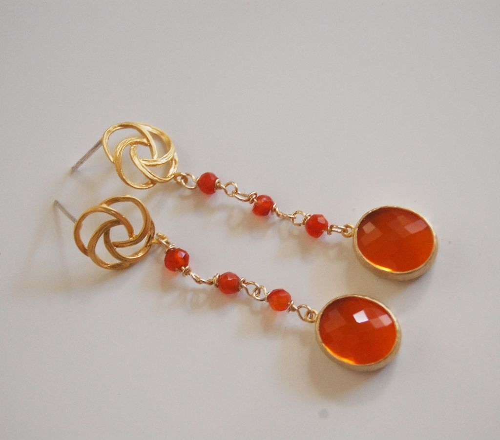 Bezel setting glass Fire Opal fancy drop And orange Carnelian Dangle Earrings
