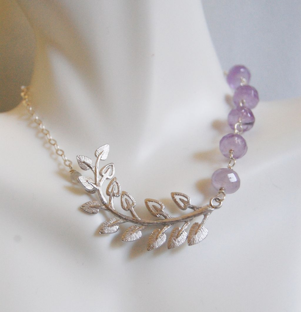 Gemstone Amethyst Necklace With Leaf connector - sterling silver Necklace