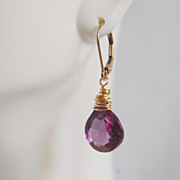 Gemstone ALEXANDRITE Quartz Dangle Drop Earrings