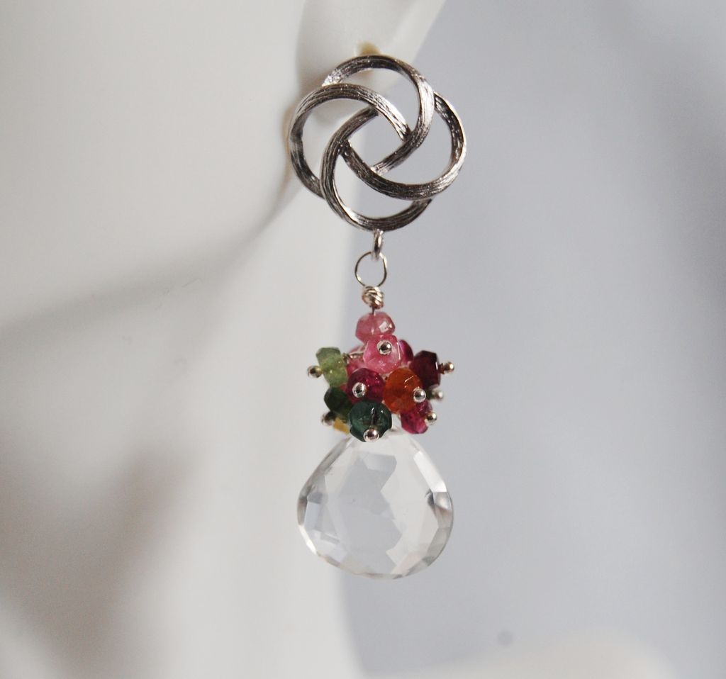 Gemstone cluster dangle Earrings - Multi Tourmaline cluster Dangle Earrings earrings