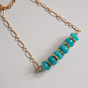 Brazilian Amazonite Necklace - Gemstone Amazonite necklace, Beadwork Necklace,Gold filled Chain