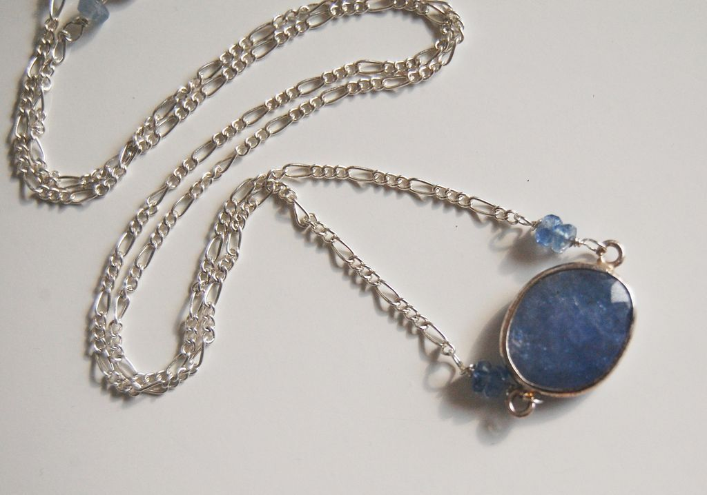 Wedding Jewelry - Bezel setting Iolite Blue sapphire rondelles Pendant necklace on Sterling silver.