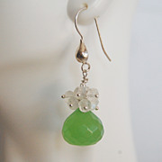 Gemstone Cluster Dangle Earrings - AAA green quartz and Moonstone cluster Dangle earrings