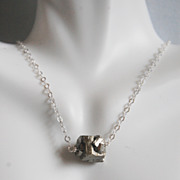 Gorgeous Silver Pyrite Nugget pendant Neclace - Wedding Jewelry- Bridal Jewelry