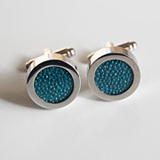 Men's Stingray Cuff links - Men's jewelry- Men's Cuff links- Photo Cuff Links-Teal Green Stingray Cuff links - Men's accessories
