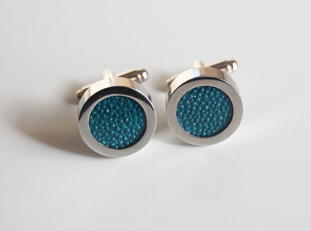 Men's Stingray Cuff links - Men's jewelry- Men's Cuff links- Photo Cuff Links-Teal Green Stingray Cuff links - Men's accessories