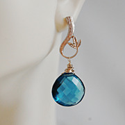 London Blue Quartz Drop Dangle Earrings- Wedding Jewelry - bridal Jewelry