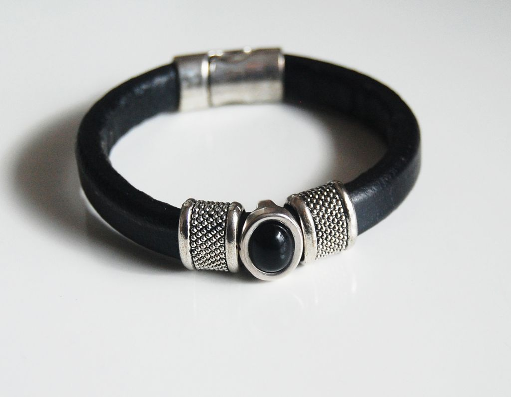 Black Licorice Leather Bracelet- Bangle bracelet-Hematite stone charm Bracelet - Cuff Bracelets
