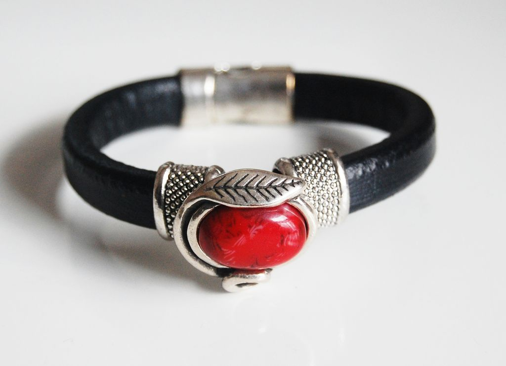 Black Licorice Leather Bracelet- Bangle bracelet- Red stone charm Bracelet - Cuff Bracelets