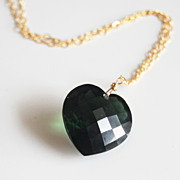 Gorgeous HUGE Top Grade 29ct AAA Dark Forest Green Briolette Pendant Necklace