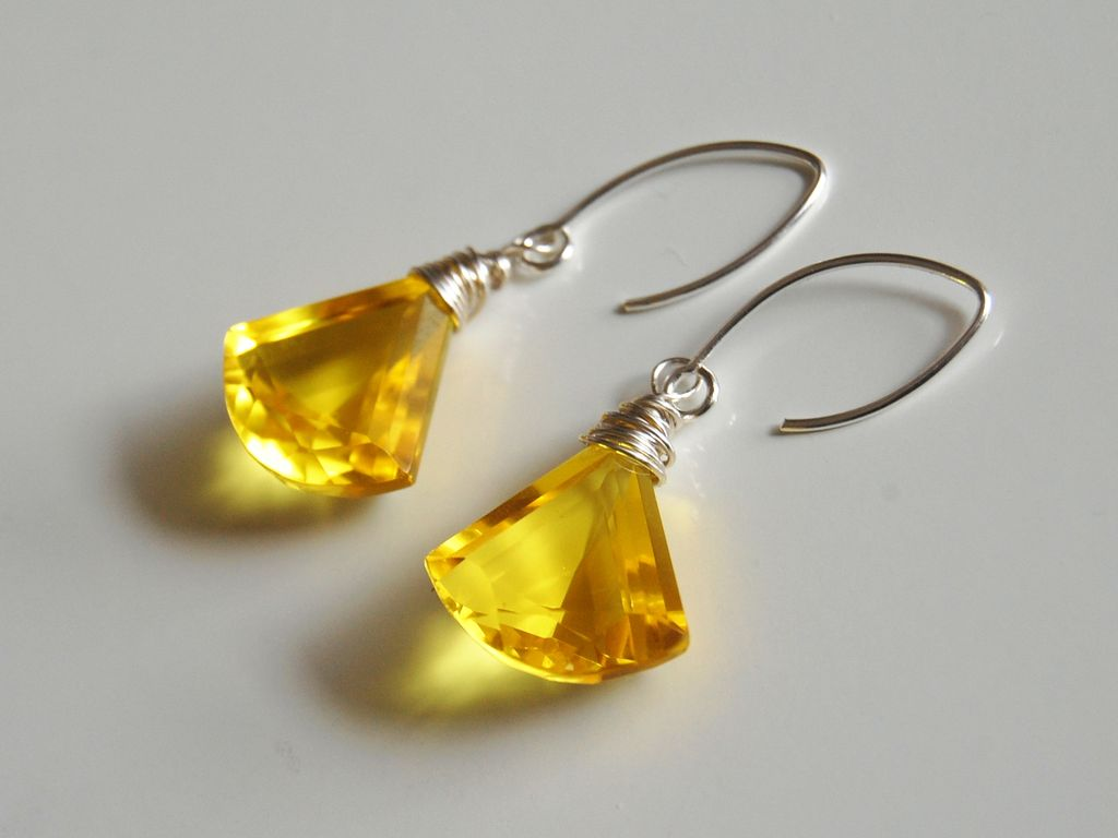 Gorgeous Yellow Quartz Dangle Drop Earrings -Wedding Jewelry- Bridal Jewelry