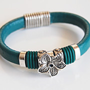 Teal Green Licorice Leather And Flower Slider -Green O ring Bracelet- Bangle bracelet- - Cuff Bracelets