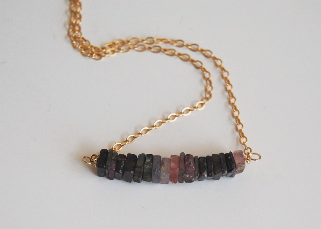Watermelon Tourmaline Heishi Cube Square Beaded Necklace with Gold filled Chain- Mother's day Necklace