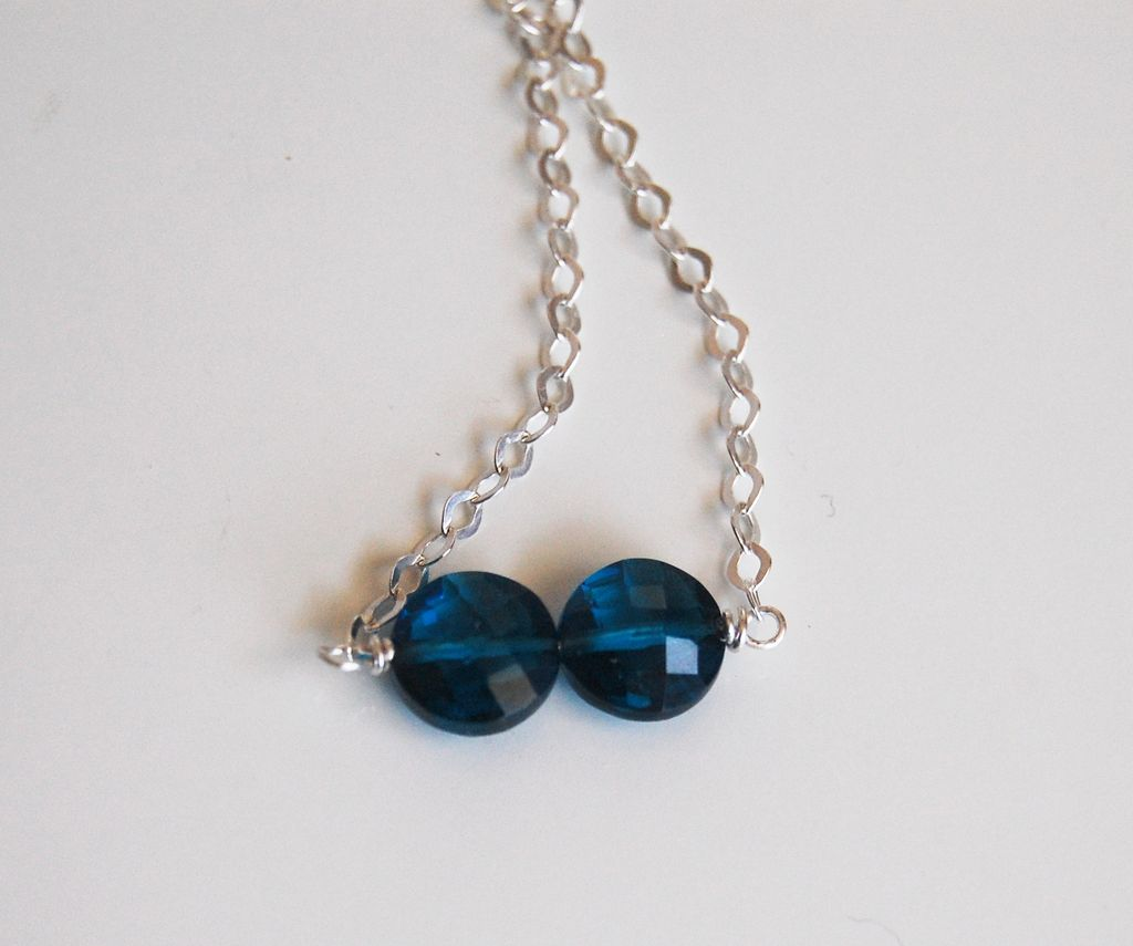 blue quartz necklace and sterling silver chain