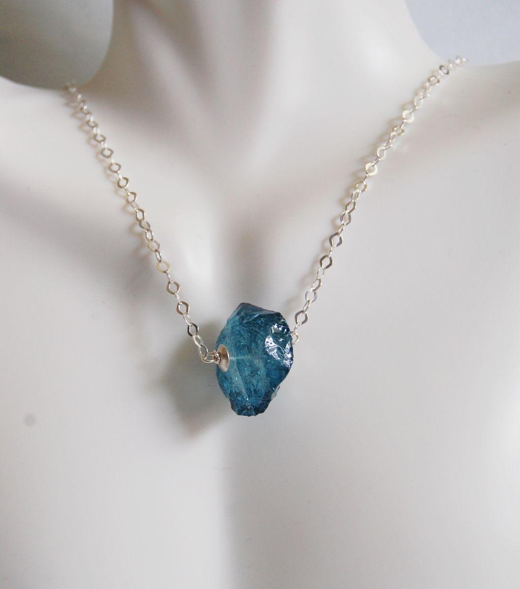teal blue quartz hammered nugget pendant necklace in
