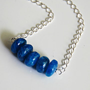 Kyanite Blue Rainbow Moonstone beaded Necklace - Beadwork Necklace- Bar Necklace