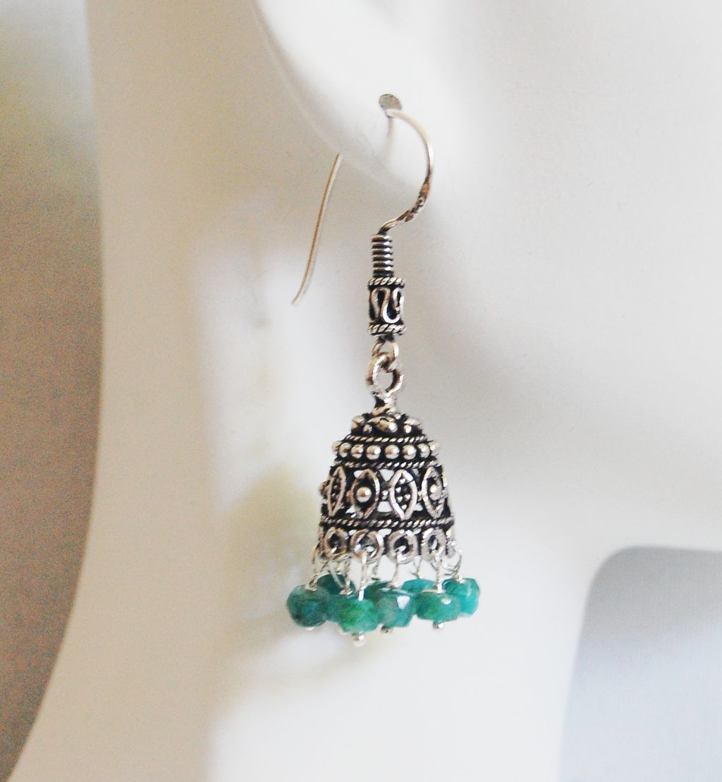 Chandelier Earrings - Emerald Chandelier Earrings - Jhumka ...