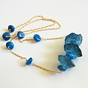 Teal Blue Quartz Hammered Nugget And Kyanite Blue Necklace in Sterling Silver -Blue Necklace - Statement Necklace