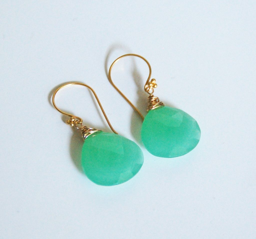 green chalcedony dangle drop earrings wedding jewelry