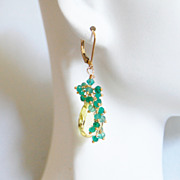 Lemon Quartz And Green Quartz Cluster Dangle Drop Earrings- - Wedding Jewelry- Wedding Accessories - Bridal Jewelry- Unique Gift