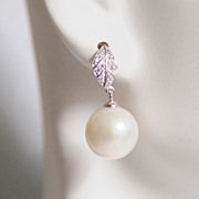 Natural South Sea Pearl Earrings - Pearl Dangle Drop Earrings-Wedding Jewelry -Bridal Jewelry- Wedding Accessories, June Birthstone
