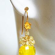 Gemstone Madeira Quartz and Yellow Quartz Cluster Drop Dangle Earrings- Wedding jewelry- Bridal jewelry