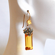 Gorgeous Citrine Quartz And Iolite Blue Quartz Cluster Dangle Drop Earrings -yellow Earrings