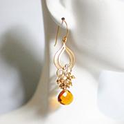 Cluster Earrings - Chandelier Earrings -Beer Quartz And Gold Pyrite Chandelier Dangle Drop Earrings