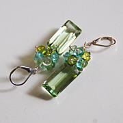 Gorgeous Green Amethyst Quartz And Multi color Quartz Cluster Dangle Drop Earrings Green Earrings
